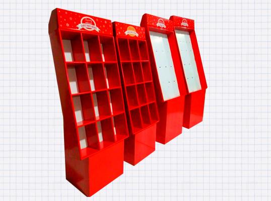 红色格子展示柜